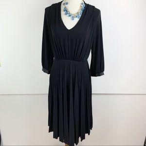Max and Cleo Black Long Sleeve Pleated Dress B1651